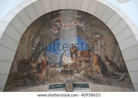 Nativity scene, Bethlehem, Church at the Shepherds' Fields - stock photo