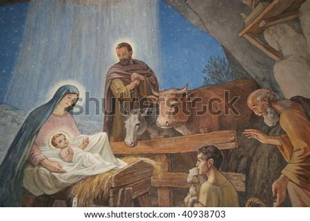 Nativity scene, Bethlehem Shepherds Field Church - stock photo