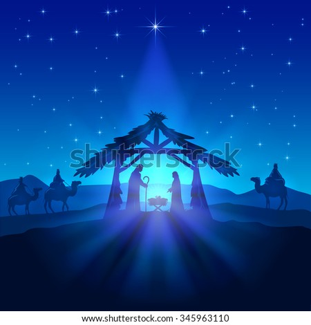 Nativity scene, Christmas star on blue sky and birth of Jesus, illustration. - stock photo
