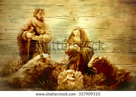 Nativity Scene in old wooden texture, Christmas greeting card - stock photo