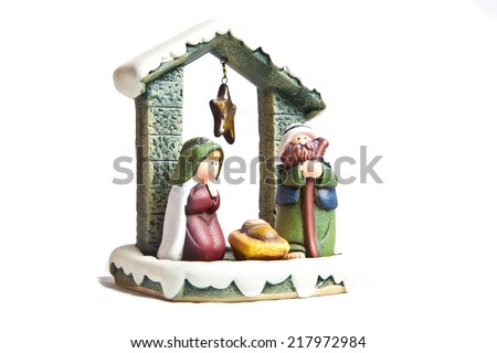 Nativity scene isolated on white background - stock photo