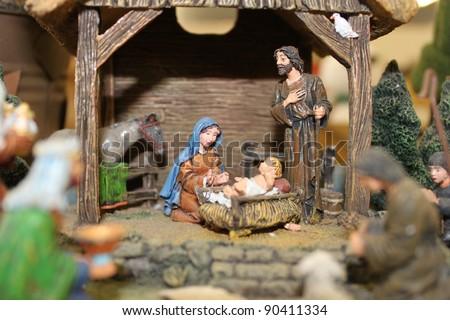 Nativity scene really close - stock photo