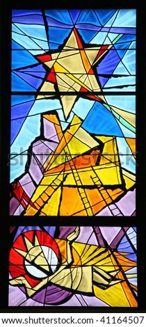 Nativity scene, stained glass - stock photo