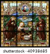 Nativity scene, stained glass, Church of St. Catherine, Bethlehem - stock photo