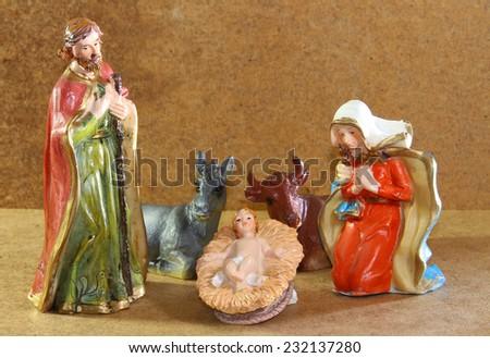 Nativity scene with baby jesus - stock photo