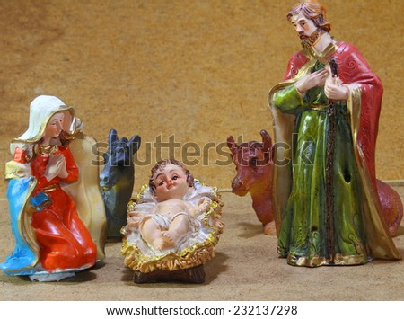 Nativity scene with baby jesus at Christmas - stock photo