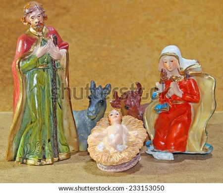 Nativity scene with baby jesus Mother Mary and joseph - stock photo