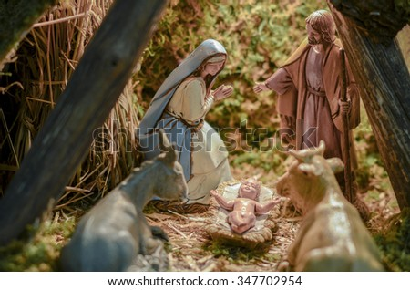 nativity scene with figures - stock photo