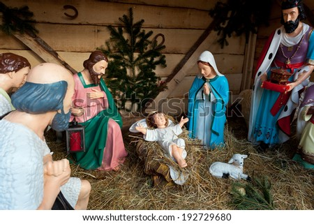 Nativity scene with statues. Munich, Bavaria, Germany - stock photo