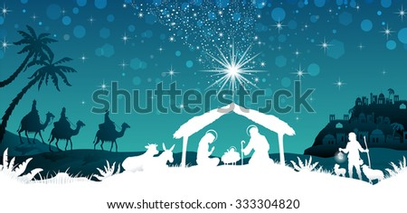 nativity scene with the Holy Family and the Magi of oriental landscape - stock photo