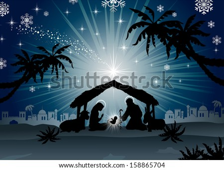 nativity scene with the Holy Family  of oriental landscape - stock photo
