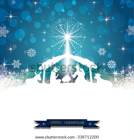 Nativity silhouette White on a Blue Background with Snowflakes - stock photo