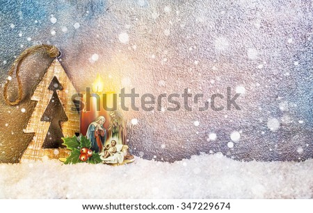 Nativity under Snow - Merry Christmas - stock photo