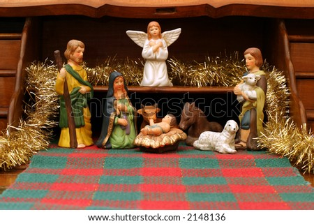 Nativity with Secretary - front view - This antique French secretaire is used as a great display for the Nativity scene. - stock photo