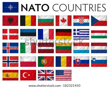 NATO member countries isolated flags. - stock photo