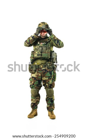 NATO soldier in full gear. Military man isolated over white background. - stock photo