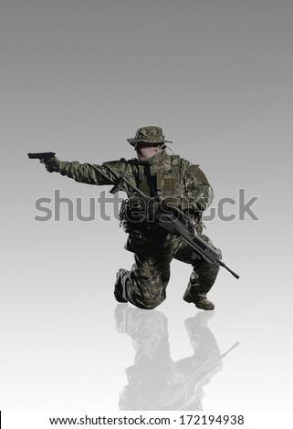 NATO troops. Studio shooting. With alpha channel. frontal pose. going. with reflections. isolated. With alpha channel - in my gallery.