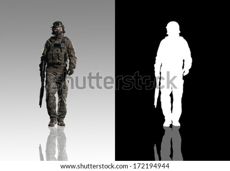 NATO troops. Studio shooting. With alpha channel. frontal pose. going. with reflections. isolated. - stock photo