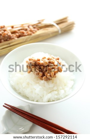Natto (fermented soybeans) on rice - stock photo