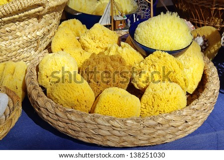 Natural and biological yellow sponges - stock photo