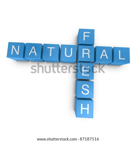Natural and fresh crossword on white background, 3D rendered illustration