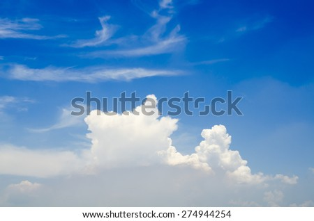 Natural Awesome Bright Blue Sky with the Fluffy White Clouds on the Plane View - Texture Background - stock photo