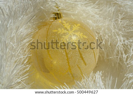 Natural background, Christmas tree decoration, ball, happy New Year