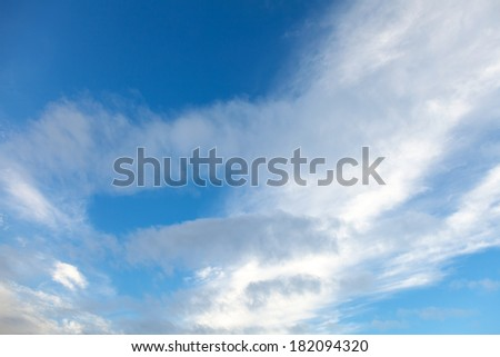 Natural background texture of blue cloudy sky