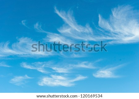 natural background view of the sky with feather clouds - stock photo