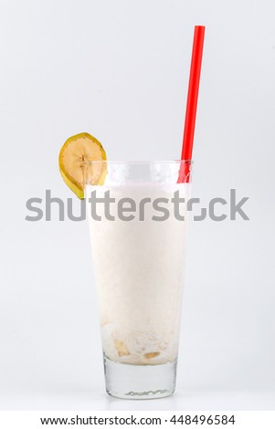 natural banana smoothie on white background
