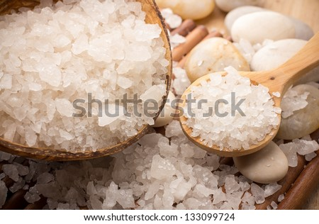 Natural bath salt, organic products. Spa stones. - stock photo