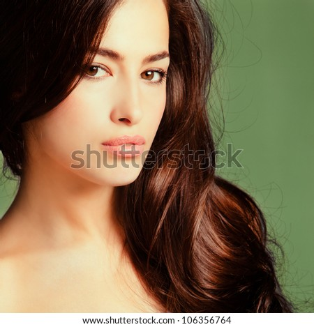 natural beautiful young woman beauty portrait - stock photo