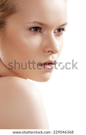 Natural beauty close-up portrait of beautiful young woman model face with clean skin. Wellness, skincare and naturally make-up  - stock photo