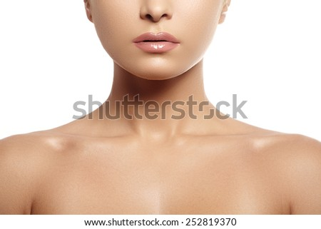 Natural beauty close-up portrait of beautiful young woman model face with clean skin. Wellness, skincare and naturally make-up. Light gloss on full lips - stock photo