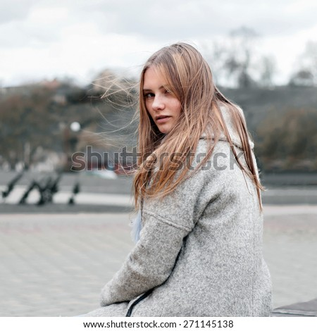 Natural beauty girl posing outdoor - stock photo