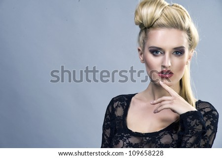 Natural beauty of a woman face - stock photo