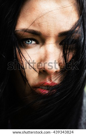 Natural beauty of a woman face. Wild look - stock photo