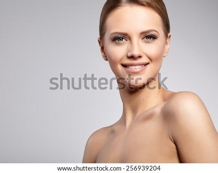 Natural Beauty Portrait. Beautiful Spa Woman . Perfect Fresh Skin. - stock photo