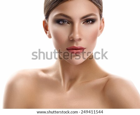 Natural beauty portrait of woman on white  - stock photo