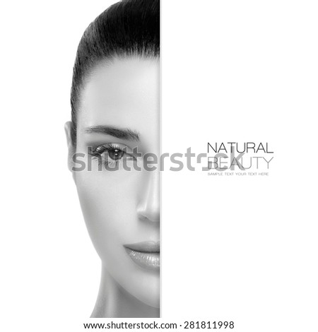 Natural Beauty. Skin care concept with a half face portrait of a gorgeous woman with healthy clean skin and blank copy space alongside with sample text. Template design - stock photo
