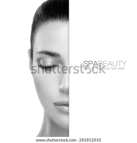 Natural Beauty. Skin care concept with a half face portrait of a gorgeous woman with healthy clean skin and blank copy space alongside with sample text. Spa treatment  - stock photo