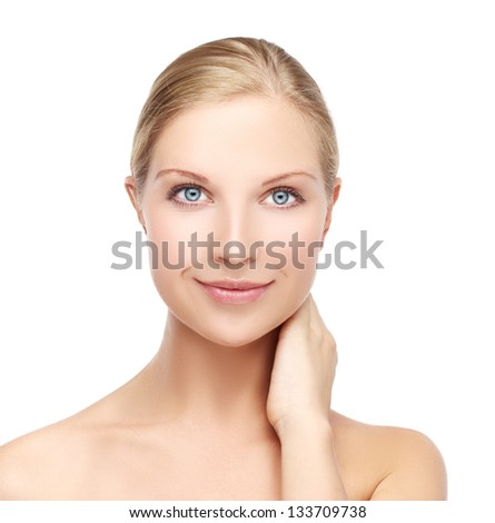 Natural beauty.White background - stock photo