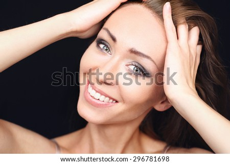 Natural beauty women. Portrait of smiling beautiful natural women. - stock photo