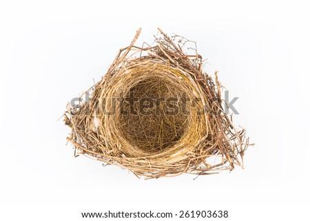 natural bird's nest isolated on white background - stock photo