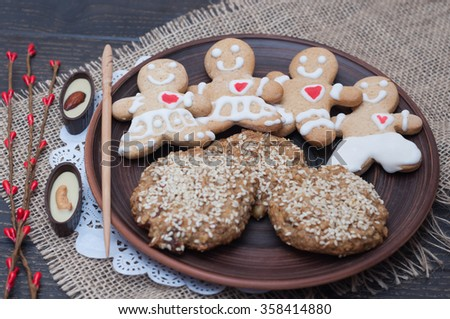 natural biscuits wholemeal and cookies in the shape of a little man.