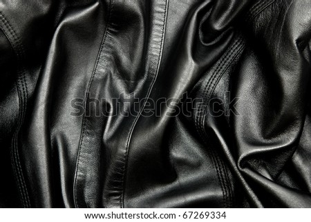 Natural black leather texture. - stock photo