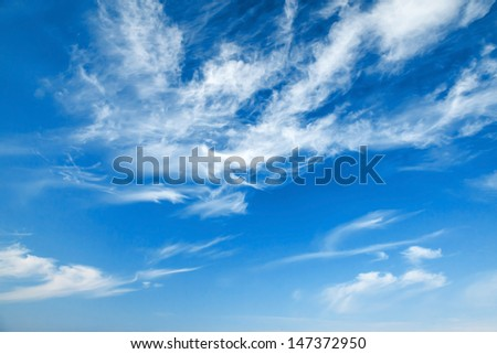 Natural blue cloudy sky background texture - stock photo