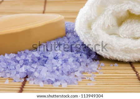 Natural body care set: sandal soap and lavender sea salt - stock photo