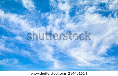 Natural bright blue cloudy sky background texture - stock photo