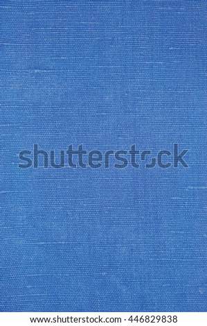 Natural Bright Blue Flax Fiber Linen Texture, Detailed Macro Closeup, Rustic Crumpled Vintage Textured Fabric Burlap Canvas Pattern, Vertical Rough Background Copy Space - stock photo